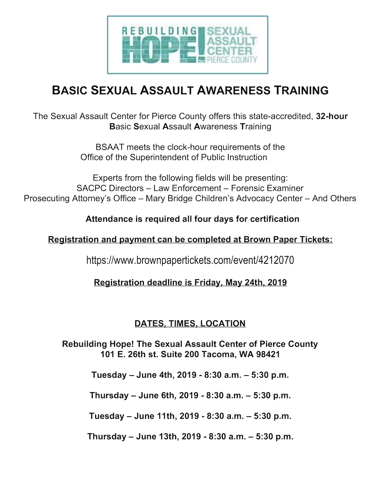 June 2019 Basic Sexual Assault Awareness Training
