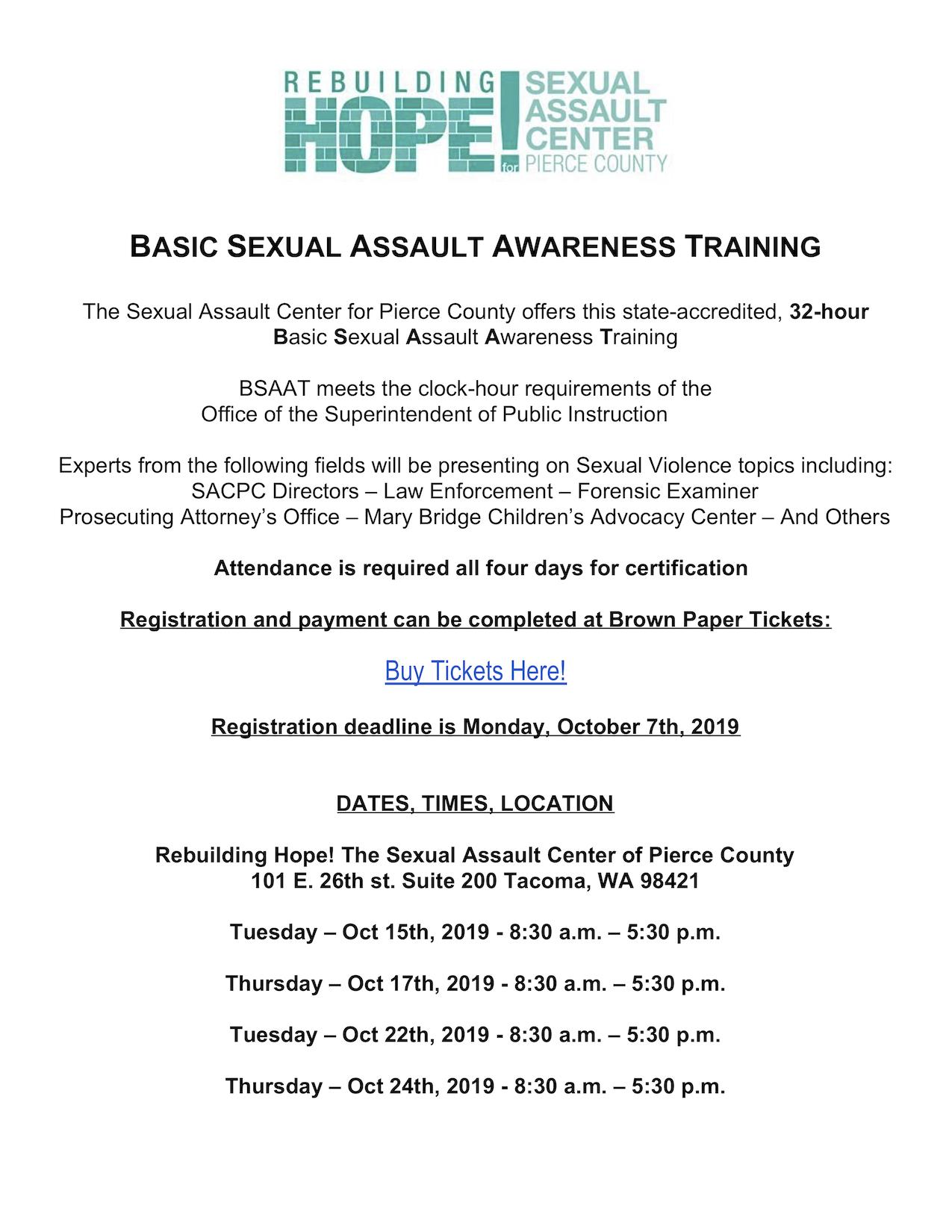 October 2019 Basic Sexual Assault Awareness Training