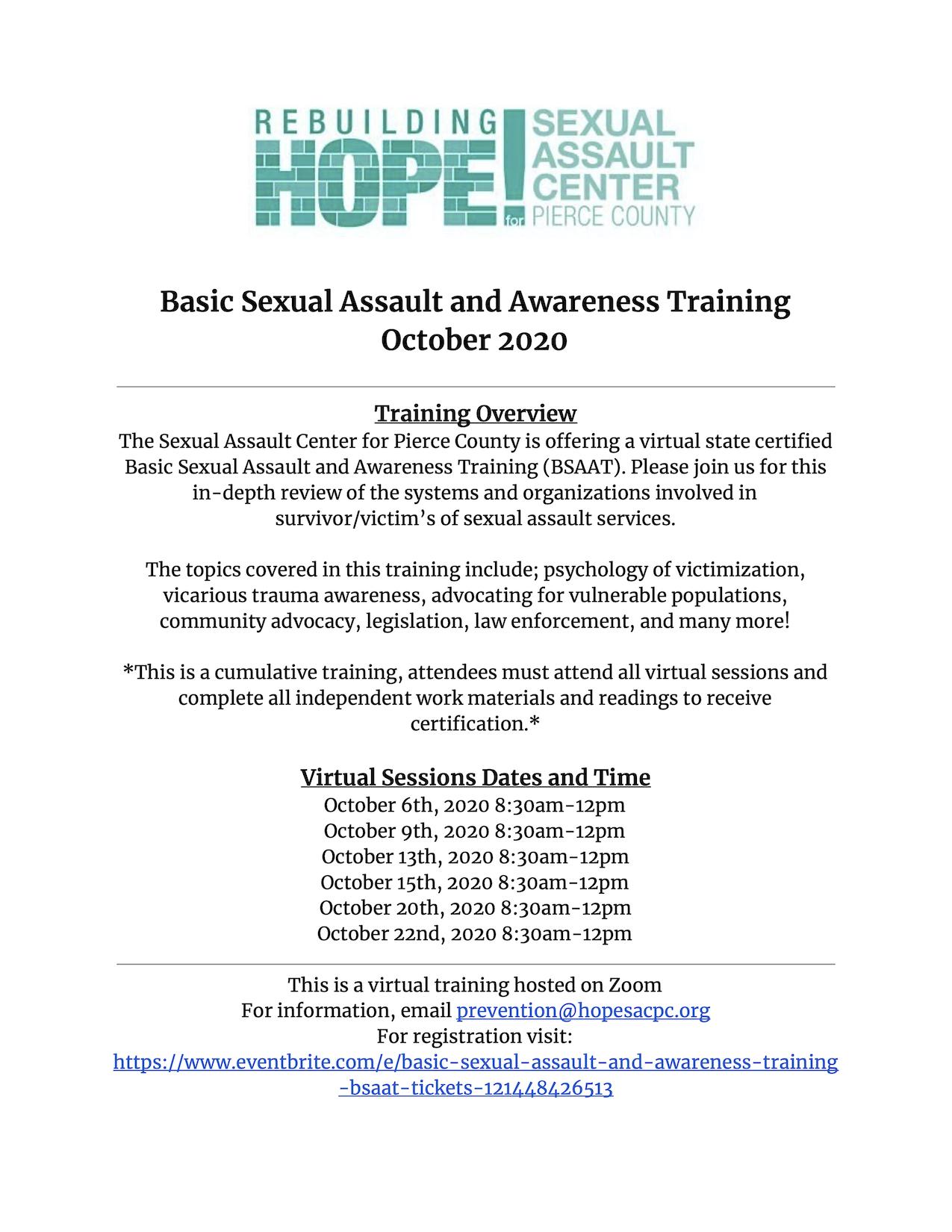 October 2020 Basic Sexual Assault Awareness Training